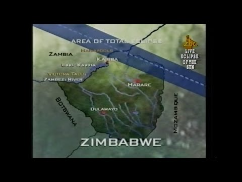 Zimbabwe Solar Eclipse 2001 - Live ZBC coverage from Mana Pools