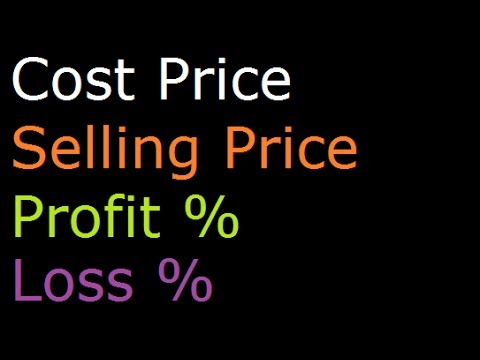Derivation of formulas to find Profit Percentage, Loss Percentage, Cost Price and Sale Price