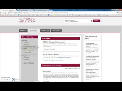 Common Application FERPA Waiver Instructions  and Naviance Matching Process