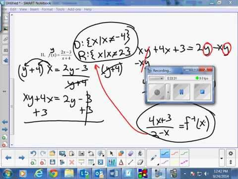 Test Review for Functions, 1-1, Inverses, fog of x, gof of x for Pre Calculus