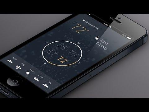Flat Mobile App Design in Photoshop CC - Weather App
