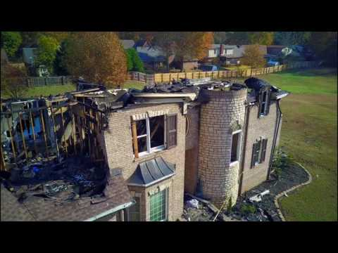 House Fire Aftermath Drone
