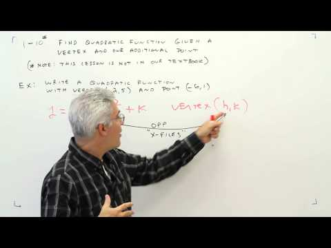 1-10 Find Quadratic Function Given Vertex and One Additional Point