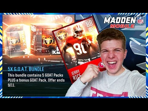 MADDEN MOBILE 18 G.O.A.T PROMO BUNDLE OPENING!   88 OVR GOAT EDITION PLAYER UNLOCKED SET COMPLETE