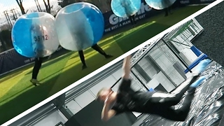 BUBBLE FOOTBALL & TRAMPOLINE PARK FLIPS AND TRICKS