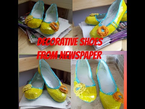 How to make  decorative shoes from newspaper Tutorial