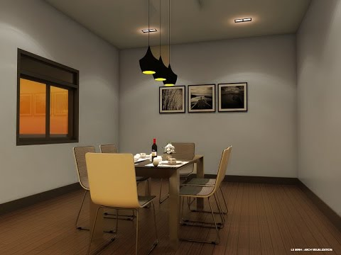 Night interior scene with Vray and Sketchup: IES light, Rectangle, Emissive light