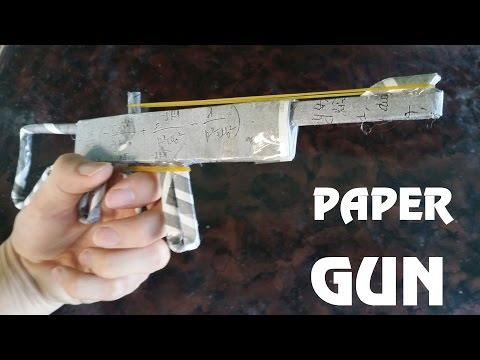 How to make a Powerful Paper Gun that Shoots with Trigger - Rubber Band Gun - Toy weapon
