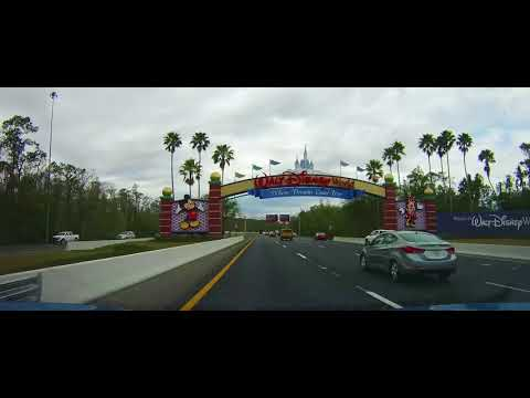Driving on Florida 536 into Epcot at Disney World