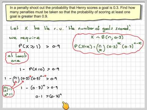 Finding the number of trials in a binomial distribution for a given probability