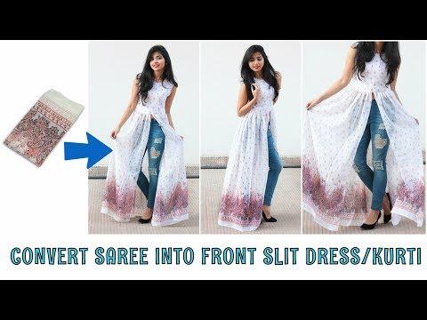 DIY: Convert Old Saree Into Front Slit Dress\Kurti in 10 Minutes
