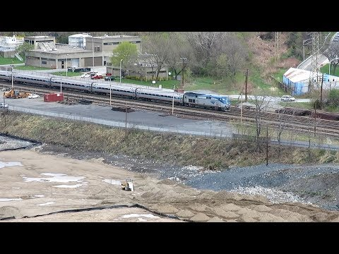 Amtrak P32AC-DM #710 with Empire Service arrives at Poughkeepsie station, NY