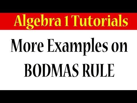 Algebra BODMAS Rule More Examples Solved