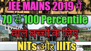 College based on Jee mains 2020 Percentile   NIT /IIIT/BITS/NSIT/DTU/