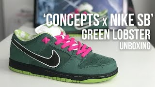brand new 1ec59 fb70a Concepts x Nike SB Dunk Low Green Lobster Sneaker Unboxing ... OH Yes!!!