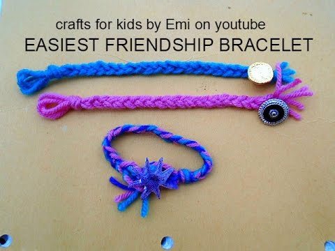 JEWELRY:  EASIEST FRIENDSHIP BRACELET, crafts for kids by Emi