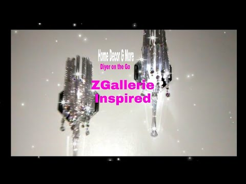 Z GALLERIE INSPIRED/GLAM /TORCH SCONCES/DOLLAR TREE /DIY/ HOW TO/ FAUX CRYSTALS/ROOM DECOR