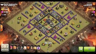 Clash of Clans TH9 vs TH9 Giant, Wizard & Healer Clan War 3 Star Attack