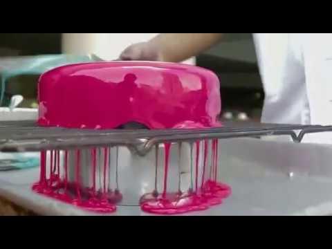 Burgundy Cherry Mirror Glaze Cake