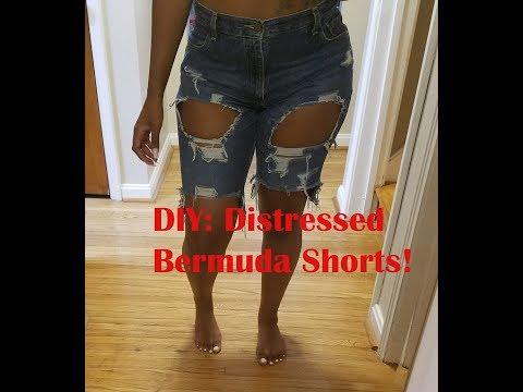 DIY: Distressed Bermuda Shorts!
