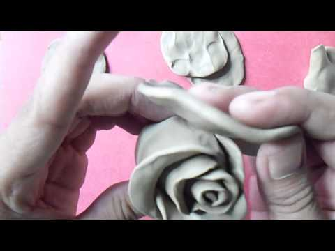 how to make rose step by step with clay