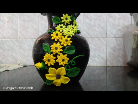Pot Painting-Flower making using clay By Nagu's Handwork