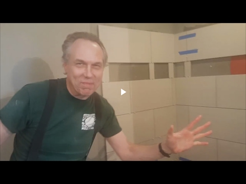 Tile shower, shampoo niche, toe perch and comic relief from Jay the tile guy
