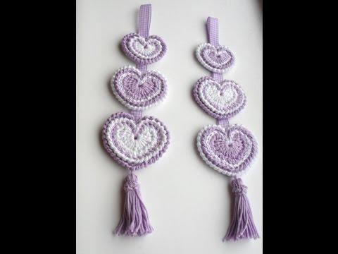 Hanging 'Hippy Hearts' Decoration - Crochet Tutorial