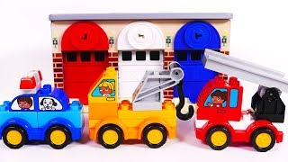 Garage Parking Playset Toy Vehicles for Children Learn Colors with Building Blocks Fire Truck