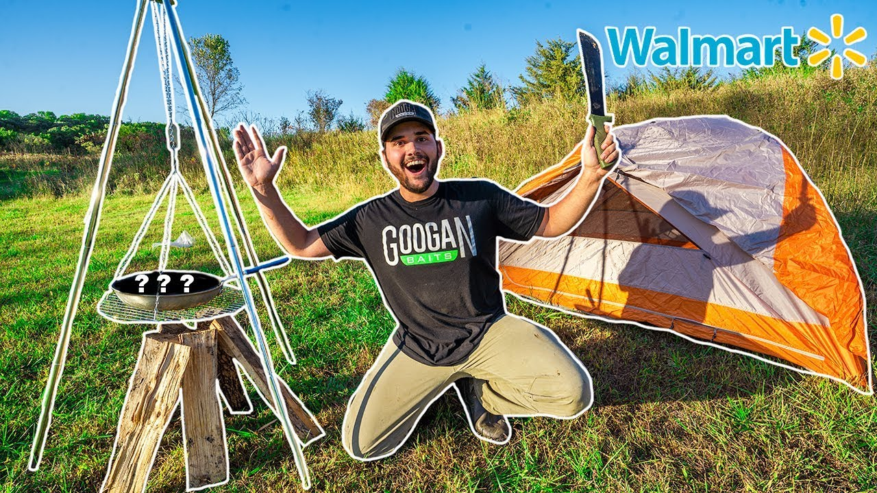 Walmart SOLO CAMPING Challenge!!! (NO FOOD NO WATER)