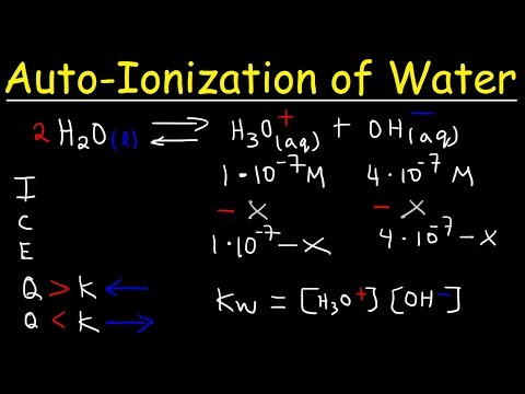 AutoIonization of Water, Ion Product Constant - Kw, Calculating H3O+, OH-, and pH Using Ice Tables