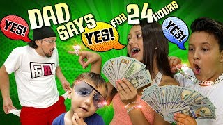 DAD SAYS YES to EVERYTHING KIDS WANT for 24 HOURS! (If Kids Were in Charge Challenge)