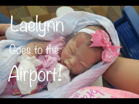 Reborn Baby Laelynn Goes To The Airport! Great Grandpa Feeds Crying Baby! Cute Roleplay In Public!