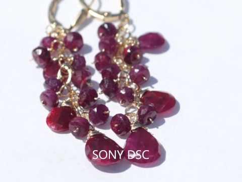 Gemstone Earrings Chandelier. Cascade Earrings. Beaded Earrings.wmv