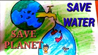 How To Draw Save Water Drawing Step By Step Save Trees Sketch For