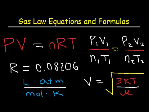 Gas Law Equations and Formula Sheet