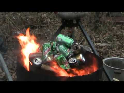 Free Smelting Green Energy - Oil Burner - Dragon Breath - Time Lapse 10x Speed - Forge Melting Cans