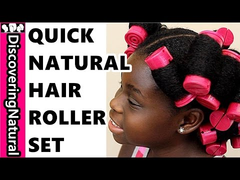 How To Roller Set THICK Natural Hair 4C QUICKLY Using Aunt Jackie's Flaxseed Gel