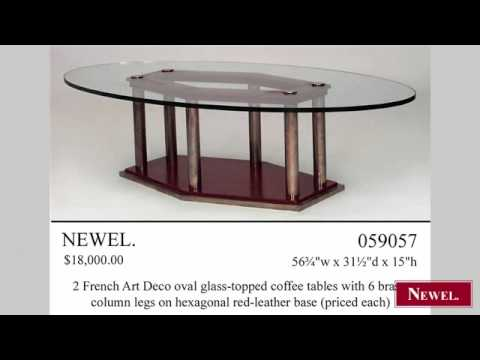 Antique French Art Deco oval glass topped coffee tables