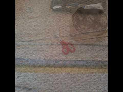 Berber Carpet Seam Repair for Pet Damaged Doorway.        Atlanta Carpet Repair Expert