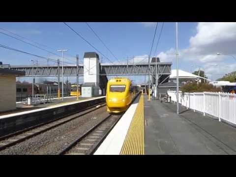 The Rockhampton Electric Tilt Train approaching Caboolture Station.