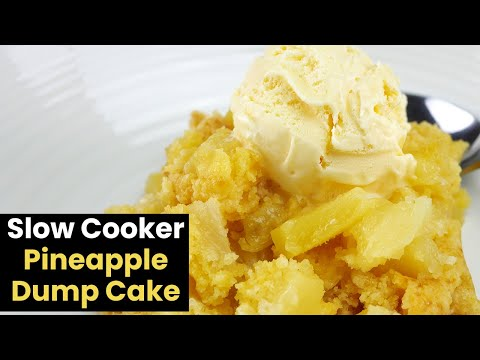 Simple 3 Ingredient Slow Cooker Pineapple Dump Cake