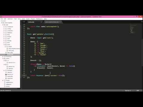 laravel 4 autocomplete with jquery ui, search colors array example