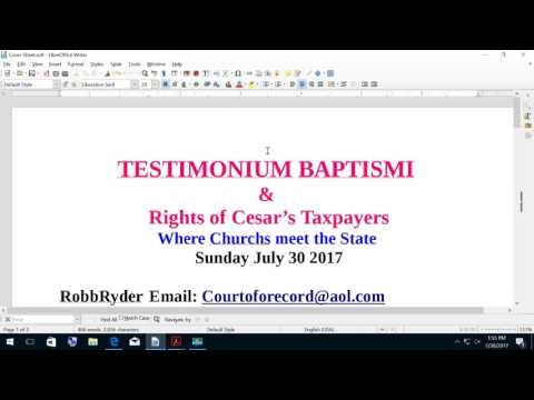 TESTIMONIUM BAPTISMI & Rights of Cesar's Taxpayer's