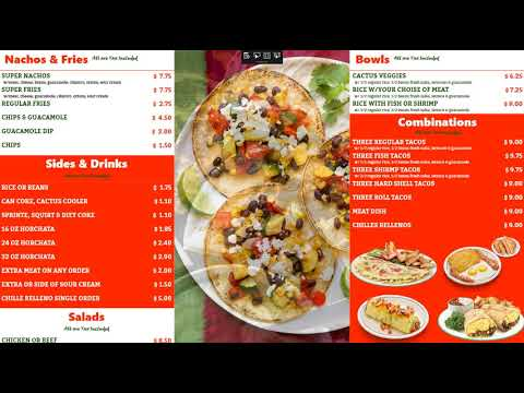 Digital Menu Board for Restaurant