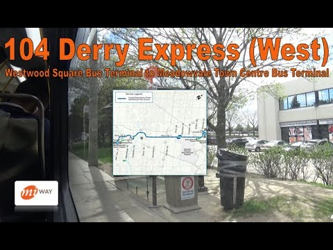 104 Derry Express (West) - MiWay 2017 New Flyer XD40 1702 (Westwood Square to Meadowvale Ctr)