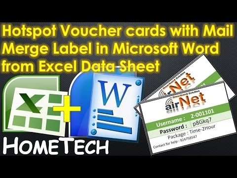 Create Hotspot Voucher cards using Mail Merge Label in Microsoft Word from Excel Data Sheet