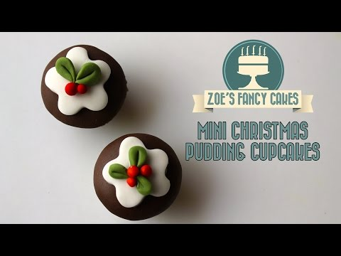 Mini Christmas pudding fondant cupcakes How To Cake Decorating Tutorial