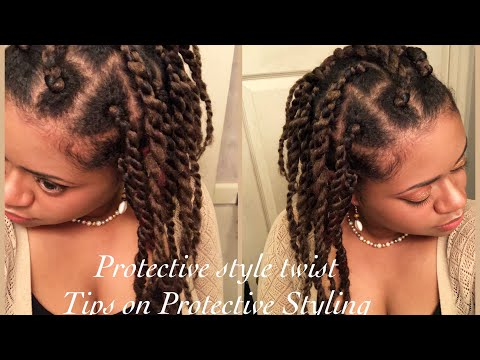 Protective style with Twist | Tips on Healthy Protective Styling (No copyright music)