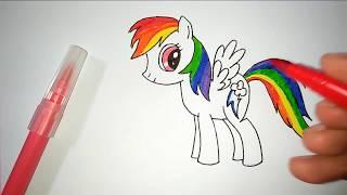 Menggambar Dan Mewarnai My Little Pony Rainbow Dash Coloring Pages
